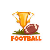 Football banner with ball and goblet. Vector illustration Stock Photo