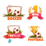 Football banner set with ball and goblet. Vector illustration Stock Photography