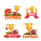 Football banner set with ball and goblet. Vector illustration Royalty Free Stock Photography