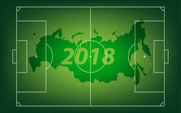 Football banner. Vector illustration. Sports 2018 Russia trends, vector illustration. Green footbal field Stock Images