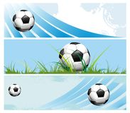 Football banners with the balls. Football ball competition champion olympiad Stock Images