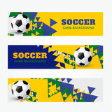 Football banners set. Set of football soccer headers Royalty Free Stock Image