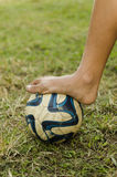 Football bare feet Stock Photography