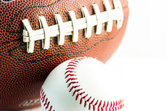 Football and baseball balls Stock Photo
