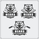 Football, baseball and hockey logos and labels. Sport club emblems with tiger. Black and white Stock Photography