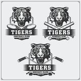 Football, baseball and hockey logos and labels. Sport club emblems with tiger. Black and white Royalty Free Stock Images