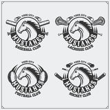 Football, baseball, lacrosse and hockey logos and labels. Sport club emblems with horse. Black and white Stock Photography