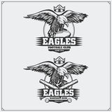 Football and baseball logos and labels. Sport club emblems with eagle. Black and white Stock Image