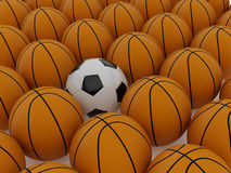 Football and basketball balls Stock Images