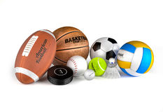 Football, basketball, soccer, volleyball, hockey puck, baseball,. Golf, tennis and badminton balls. Sport equipments  on the white background. High detailed and Stock Photography