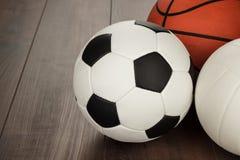 Football, basketball and volleyball Stock Photo