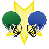 Football battle. Two football helmets facing each other, symbolizing the battle of the game Stock Images