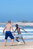 Football in the beach, Porth Elizabeth Stock Photos