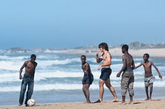Football in the beach, Porth Elizabeth Stock Photo