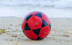Football on beach for Soccer sport Royalty Free Stock Photo