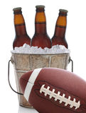 Football and Beer in Bucket Stock Image