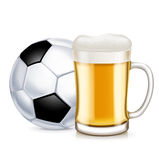 Football and beer glass with handle isolated Stock Photos