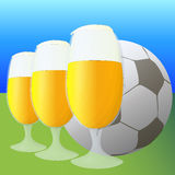 Football and beer vector illustration Royalty Free Stock Photo