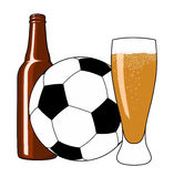 Football and beer. Vector illustration of soccer ball, beer bottle and tankard Royalty Free Stock Images