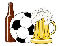 Football and beer. Vector illustration of soccer ball, beer bottle and tankard Stock Photo
