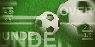 Football betting. Blur soccer ball, over and under text on green grass, 3d illustration. Football betting concept. Blur soccer ball, over and under text on green royalty free illustration