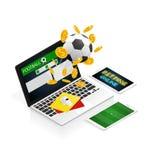 Isometric football betting online make money vector. Football betting online make money vector illustration