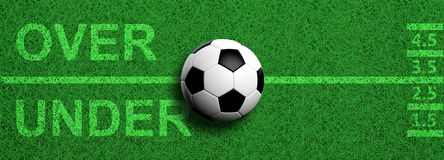 Football betting. Soccer ball, over and under text on green grass, banner, 3d illustration. Football betting concept. Soccer ball, over and under text on green royalty free illustration