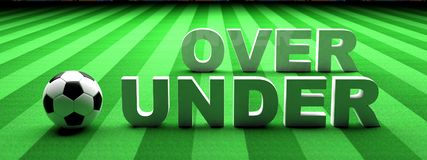 Football betting. Soccer ball, over and under text on green grass, banner, 3d illustration. Football betting concept. Soccer ball, over and under text on green vector illustration