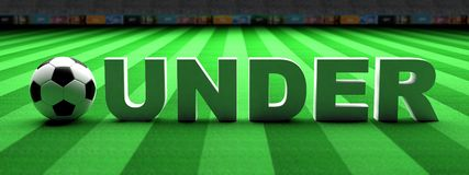 Football betting. Soccer ball, under text on green grass, banner, 3d illustration. Football betting concept. Soccer ball, under text on green grass, banner, top royalty free illustration