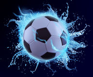 Football in blue water splash. Can be use in extreme sport title or print ad Royalty Free Stock Images
