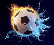Football in blue water splash and orange flame Stock Image