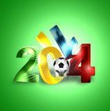 2014 football boom. 2014 football 3d boom green background stock illustration