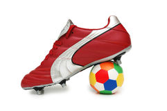 Football boot and ball. Isolated on the white Royalty Free Stock Image