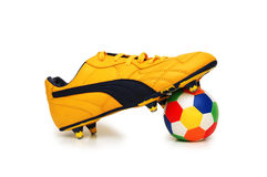 Football boot and ball isolated Royalty Free Stock Photography