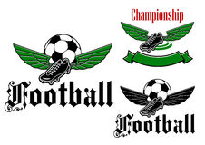Football boot emblem with wings Royalty Free Stock Photography