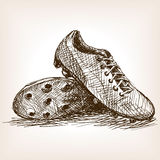 Football boots hand drawn sketch style vector Royalty Free Stock Photo