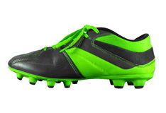 Football boots isolated - green. Green football boots isolated on white with Clipping Path Royalty Free Stock Photo