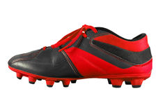 Football boots isolated - red. Red football boots isolated on white with Clipping Path Stock Images