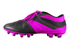 Football boots isolated - violet. Violet football boots isolated on white with Clipping Path Stock Image