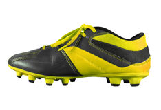 Football boots isolated - yellow. Yellow football boots isolated on white with Clipping Path Stock Photos