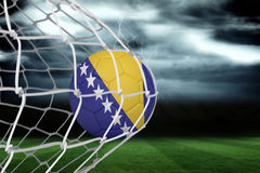 Football in bosnia and herzegovina colours  at back of net Stock Images