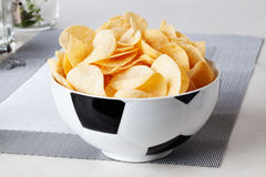 Football bowl of chips sports fan food fans Royalty Free Stock Photos