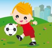 Football boy. Illustration of little boy playing ball Stock Photos