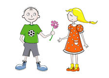 Football boy and pretty girl. Funny football boy makes a present to a pretty girl in love Royalty Free Stock Photo