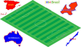 Football Brasil 2014, 3D soccer field with group B. Teams (Netherlands, Spain, Australia, Chile Stock Illustration