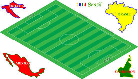 Football Brasil 2014, 3D soccer field with group A teams. Football Brasil 2014, 3D soccer field with group A teams (Brasil, Cameroon, Mexico, Croatia Royalty Free Illustration