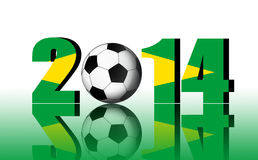 2014 with football and brazil flag. Royalty Free Stock Photography