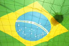 Football Brazilian Flag Soccer Ball Goal Net Stock Image