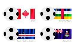 Football with Canada, Central African, Cape Verde  Royalty Free Stock Images