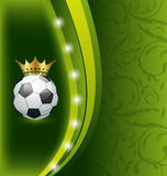 Football card with ball and crown Stock Photography
